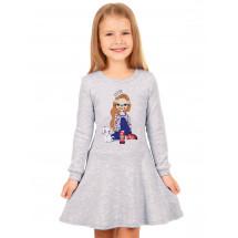 """Платье с длинным рукавом светло-серое """"Девочка в кедах"""""""
