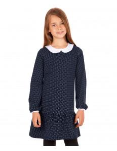 Платье с длинным рукавом темно-синее в мелкий горох