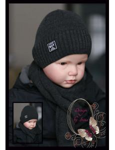 """Набор вязаный темно-серый для мальчиков """"Boy"""" (шапка и шарф)"""