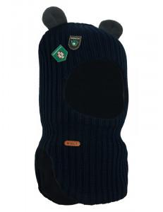 """Шапка-шлем темно-синего цвета с ушками на осень и зиму """"Медведик"""""""