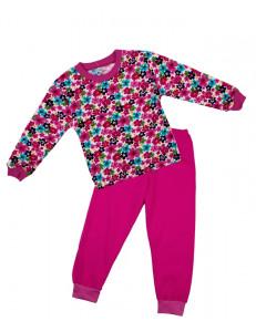 Пижама с длинным рукавом малинового цвета с маленькими цветочками