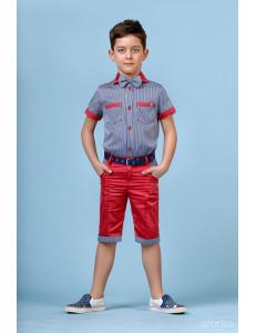 """Костюм для мальчиков красный с серым из трех предметов """"Summer"""""""