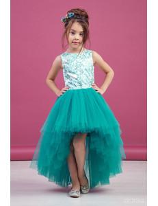 """Платье нарядное изумрудное для девочек со шлейфом и блестками """"Балет"""""""
