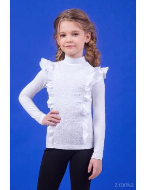 """Блузка белого цвета с двойным рюшем """"Леди"""""""